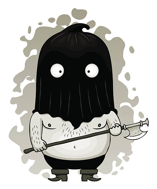 Funny cartoon executioner with axe. Vector illustration.